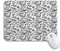ゲームマウスパッドノンスリップゴムベース、カニの海の動物手描きのシーフードパターンプリントのヴィンテージのイラスト、コンピュータラップトップのオフィスデスク用、9.5 X 7.9インチ 25x30cm