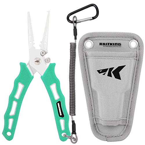 KastKing Cutthroat 7 inch Fishing Pliers, Seafoam Handle, 7 inch Split Ring Nose