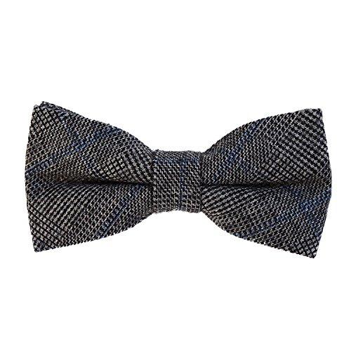 DonDon Herren Fliege 12 x 6 cm kariert gebunden und stufenlos justierbar aus Baumwolle im Tweed Style dunkelgrau-blau