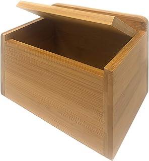 MGE - Salero con Tapa - Azucarero - Recipiente para Aliños o Especias - Bambú - 14 x 9 x 9,5 cm