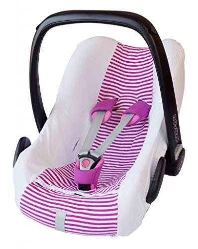 ByBoom – overtrek zomer/beschermhoes, 100% katoen, universele hoes voor babyschaal, autokinderzitje, bijvoorbeeld voor Maxi-Cosi CabrioFix, Pebble, City SPS, kleur: wit/strepen fuchsia