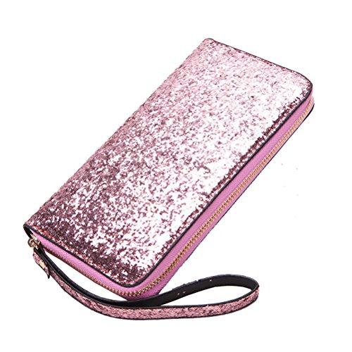 BESTOYARD Lange Reißverschluss Portemonnaie Glitzer Fashion Geldbörse Handtasche mit Handschlaufe für Damen Mädchen (Rosa)