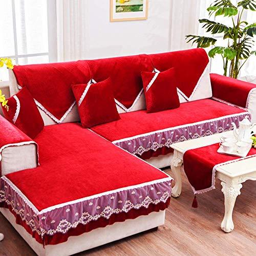 Funda de sofá de Felpa, Funda Antideslizante para sofá a Prueba de Polvo Four Seasons Toalla de sofá Universal con Todo Incluido para Sala de Estar-b 85x80cm (33x31inch)