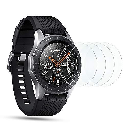 OMOTON [4 Stück] Panzerglas Schutzfolie für Samsung Galaxy Watch 46mm / Samsung Gear S3 Frontier/Gear S3 Classic,9H Festigkeit, Anti-Kratzen, Anti-Öl, Anti-Bläschen,2.5D abger&ete Kante