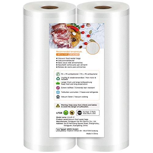 Bolsas de Vacio para Alimentos,28 cm x 6 m, Rollos al Vacio Gofradas para Conservación de Alimentos y Sous Vide rollos para envasadora al vacio, sin BPA, reutilizables 2 rollos
