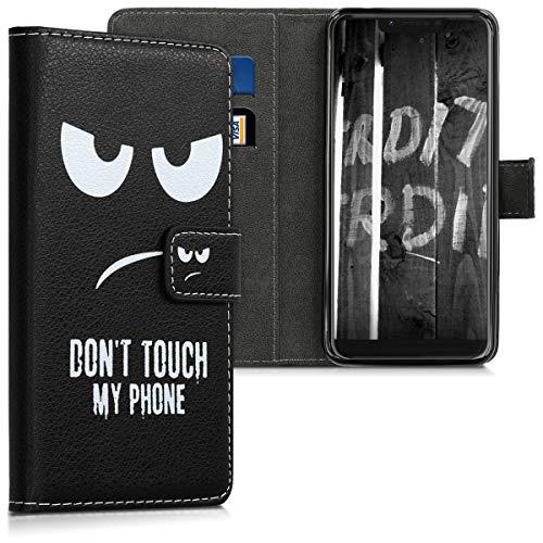 kwmobile Wallet Hülle kompatibel mit Wiko View 2 Go - Hülle Kunstleder mit Kartenfächern Stand Don't Touch My Phone Weiß Schwarz
