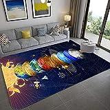 IOWLDMW Alfombras Salon Grandes Planeta Azul Gris Marrón Sol Estrellas Alfombra Salón Pelo Corto Diseño Alfombra Vintage Style para Comedor Pasillo y Habitación 120 x 170 cm