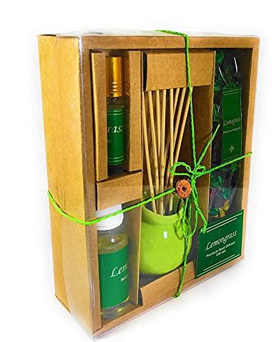 Zenza Reed Diffuser Set with 1 Ceramic Green Pot with Sticks, 1 Lemongrass Aroma Oil (60 ml), 1 Lemongrass Fragrance Potpourri and 1 Potpourri Fragrance Oil ( 10ml)   Size : 18X7X22 cm
