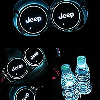 JiangJing Led Car Cup Holder Mat Pad Waterproof Bottle Drinks Coaster Built-in Vibration Automatically Turn On at Dark Universal 7-Color Light 2-Packs For jeep