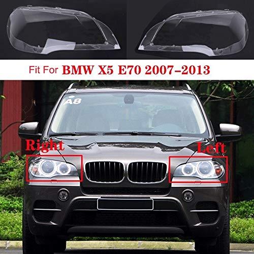 RKRCXH Auto Klar Scheinwerfer Objektivabdeckung Auto-Frontscheinwerferblenden Glas Scheinwerfer Transparent Lampshade Lampe Shell Scheinwerferblenden Objektiv Fit for BMW X5 E70 2007-2013