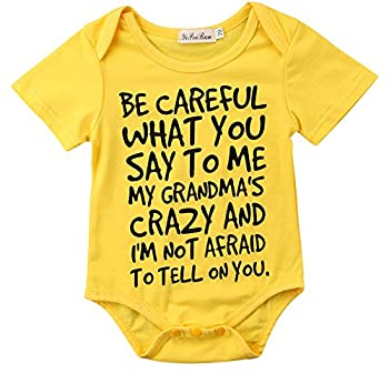 Baby Boy Girl be Careful What You say to me My Grandmas Crazy Bodysuit  100  18-24M  Yellow