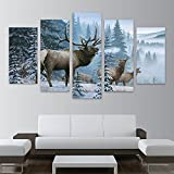 BAIYANGYANG Home Decor Pictures Frame HD Printed Canvas 5 Piece Elk Family in Snow Pine Tree Landscape Painting Fashion Deer Poster Wall Art,30x50 30x70 30x80cm,Frame