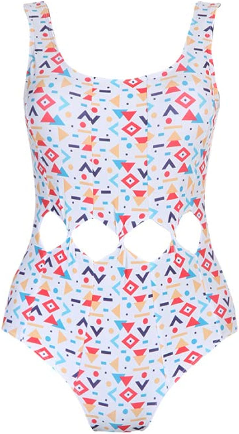 Perfect Home Women's Swimsuit, Printed Pattern, Halter, highWaist, onePiece Sexy Bikini, Polyester Material Fashion (color   White, Size   XL)