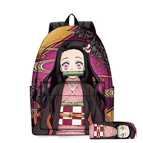 XYUANG Dämonentöter: Kimetsu no Yaiba Kamado Tanjirou/Kamado Nezuko Studentin Schultasche Anime Rucksack Herren Anzug-8(2ps)