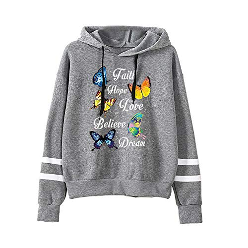 Sudaderas Adolescentes Chicas con Capucha - Mujer Tops de Manga Larga con Estampado de Mariposa - Ropa Juvenil Niña 2020 Otoño Invierno Hoodie Sweatshirt