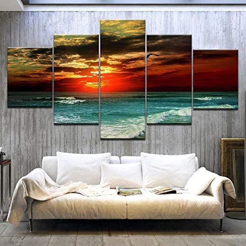 5 panelen HD prints van zeevogels en vogels op het strand bij zonsondergang Zonsondergang zeegezicht Kunst schilderij gedrukt op canvas voor huis woonkamer decoratie 40x60 40x80 40x100cm zonder frame