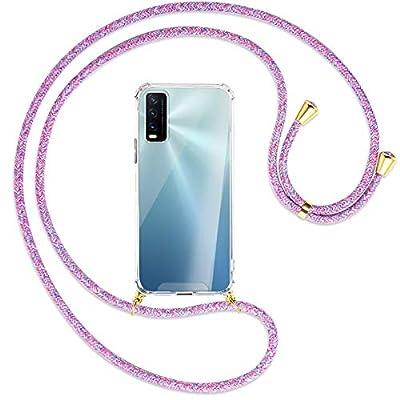 mtb more energy® Collar Smartphone para Vivo Y20s, Vivo Y11s (6.51'') - Unicornio Morado/Oro - Funda Protectora ponible - Carcasa Anti Shock con Cuerda Correa