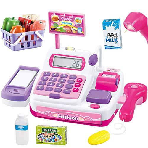 Buyger 34 Stück Elektronische Kasse Spielzeug Supermarkt Registrierkasse mit Scanner Mikrofon Kaufladen Zubehör Rollenspiel Spielzeug für Mädchen Jungen ab 3 Jahre (Rosa)