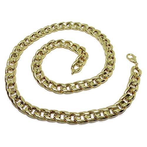 Never Say Never Collana da uomo in oro 18 carati, larghezza 1 cm, lunghezza 60 cm, con chiusura a moschettone, 28,50 g