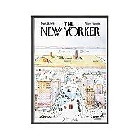 ニューヨーカーマガジンカバーポスターとプリント抽象的なヴィンテージウォールアートミニマリストクリエイティブキャンバス絵画現代写真家の装飾50x70cmx1フレームなし