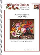 Scarlet Quince NIG001 Corbeille de Fleurs by Joseph Nigg Counted Cross Stitch Chart, Regular Size Symbols