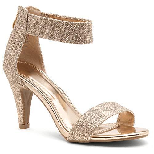 Herstyle RROSE Women's Open Toe High Heels Dress Wedding Party Elegant Heeled Sandals Rose Gold 11.0