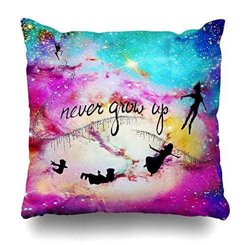 jingqi Funda de Almohada Cuadrada 45X45CM Never Grow Up Peter Pan Nebula Funda de Almohada Decorativa Funda de Almohada Decorativa para el hogar