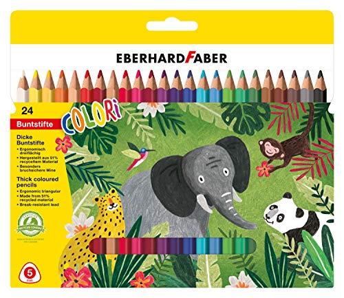 Eberhard Faber 511425 Jumbo Buntstifte in ergonomischer Dreikantform, wasserfest und bruchsicher, 24er Etui