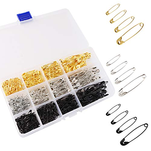 540PCS Safety Pins, Tiction 4 Sizes Safety Pins Assorted, Durable & Large Strong Safety Pins Bulk for Art Craft Sewing Jewelry Making Home Office Use with Storage Box, Gold Silver Black
