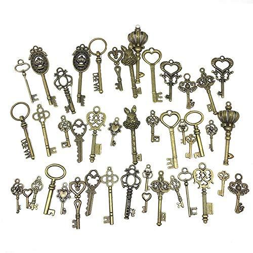 Tweal 46 Stücke Vintage Deko Schlüssel Bronze Schlüssel Retro Anhänger für Hochzeit Dekoration Gefallen,Halskette Anhänger,Basteln