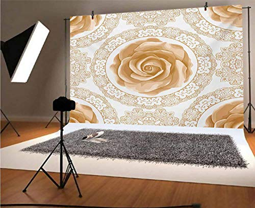 Floral 7x5 FT Vinyl Backdrop PhotographersRose Florets with Classic Golden Lace Authentic Feminine Retro Oriental Motif Background for Baby Birthday Party Wedding Graduation Home Decoration