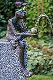 IDYL Rottenecker Bronze-Skulptur Froschkönig Borris wasserspeiend handgefertigt | 35x18x23 cm | Ideal als Gartenskulptur oder Teichbereich-Dekoration | Hochwertiges Kunsthandwerk | Wetterfest