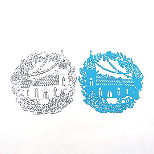 FUGUT Castle House Flower Leaves Embossing Die Cuts Stencil 4 by 42 Inch DIY Dies for Scrapbooking and Card Making
