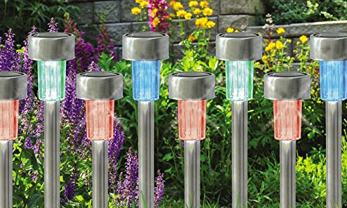GardenKraft Bornes solaires en Acier Inoxydable 19820 | Eclairer l'extérieur ou Les allées de Jardin | Lumières LED Multicolores changeantes | Résistance aux intempéries | Pack de 10, 6x6x25 cm