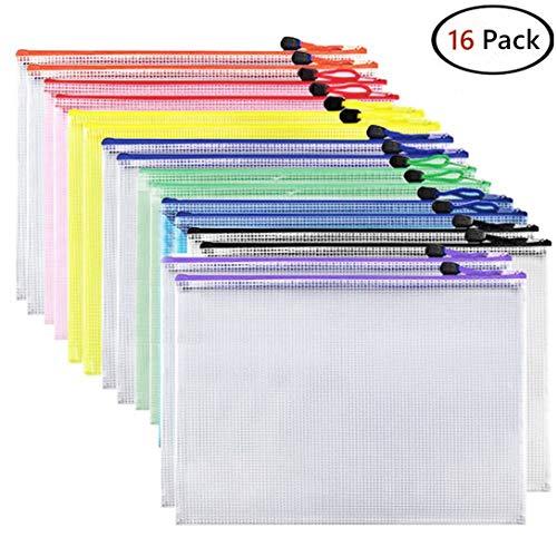 Alumuk 16 Stück Dokumententasche Mesh Taschen Set din A4 Reißverschlussbeutel Kunststoff Zip Beutel Wasserdicht Mesh Bags für Büros Schulreise Zubehör