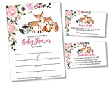 25 Girl Woodlands Floral Greenery Baby Shower Invitations (Large Size 5X7 inches), Diaper Raffle Tickets, Book Request Cards with Envelopes Woodland Creatures Invites Fox, Deer, Owl, Raccoon