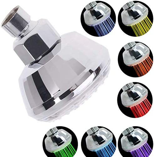 DOUBLE 2 C LED Shower Head 7 Colors Light Automatically Change Fixed Showerheads Ultra Quiet product image