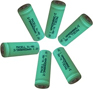 6pcs 2/3AAA Size NiMH Rechargeable Battery 400mah With Flat Top