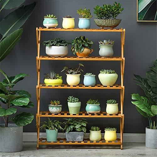 Nobrannd Bloemenstandaard voor binnen, 5 lagen, van hout, opvouwbaar, decoratieve tuinplanter, theater, rek, rek, plank, bloemen bus, pot, ladder, binnenbonsairek voor balkon in de buitenlucht