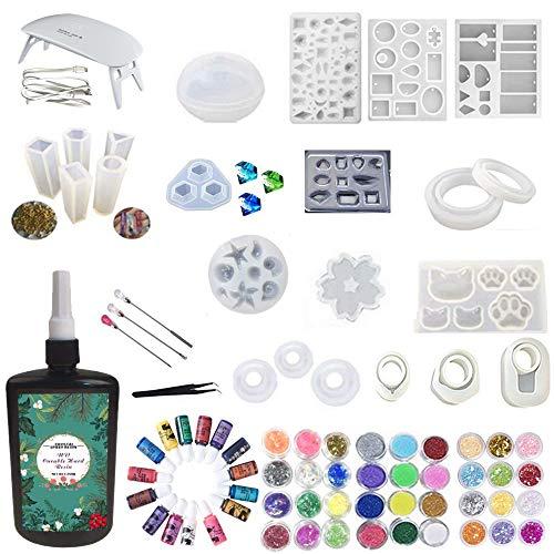 250ml resina epossidica + lampada a led con set di strumenti 4 pezzi, 15 colori liquido pigmento 24 decorazione 12 polvere 100 anelli +22 stampi con varie forme per la creazione di gioielli