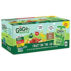 GoGo squeeZ Applesauce on the Go, Variety Pack (Apple/Banana/Strawberry), 3.2 Ounce (20 Pouches), Gl