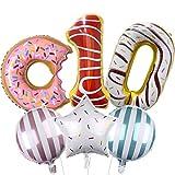 DIWULI, Ballon-Set, XL Sweet Donut Zahlen-Ballon, Zahl 10, Donut-Ballon, 10. Kinder-Geburtstag Mädchen Junge, Motto-Party, Dekoration, Folien-Ballon, Folien-Luftballons, Zahlenluftballon, Stern-Ballon