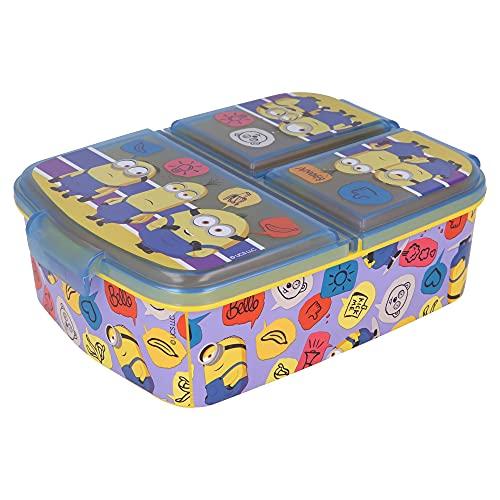 MINIONS 2 |Brotdose mit 3 Fächern für Kinder - Kids Sandwich Box - Lunchbox - Brotbox BPA frei