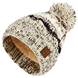 4sold Herren Damen Wurm Winter Style Beanie Strickmütze Mütze mit Fellbommel...