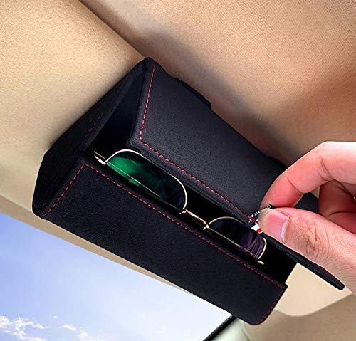 KEKIMO Car Sunglass Holder, Car Visor Sunglasses Case with Hidden Magnetic Closure Universal Automotive Eyeglasses Organizer Protective Box Car Accessories for Car, SUV, RV or Truck (Black)