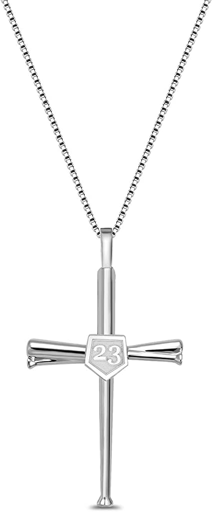 925 Sterling Silver Polished Bats and Baseball Pendant Necklace Jewelry Gifts for Women
