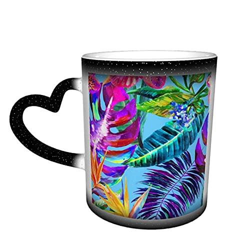 maichengxuan Taza de café unisex de viaje con flores tropicales personalizadas, sensible al calor, color cambiante, taza de té de leche