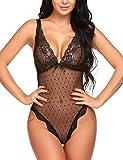 ADOME Body Dessous V-Ausschnitt Reizwäsche Erotic Damen Lingerie Spitzen Bodysuit