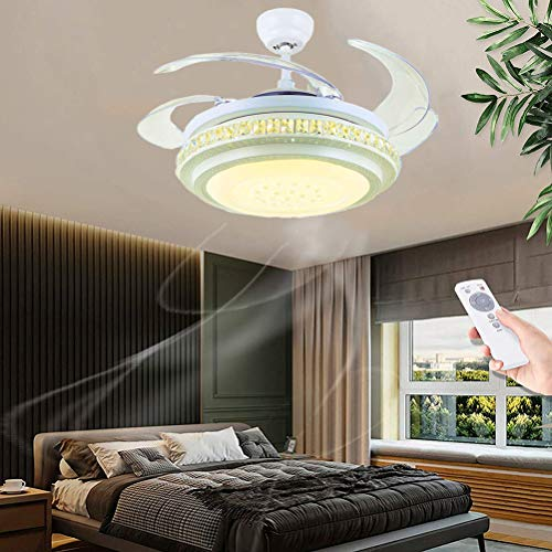Ventilador de techo con iluminación y mando a distancia Luz de techo moderna regulable silenciosa Lámpara de techo LED Invisible Fan Puede cronometrar Candelabro, para la sala de estar del dormitorio