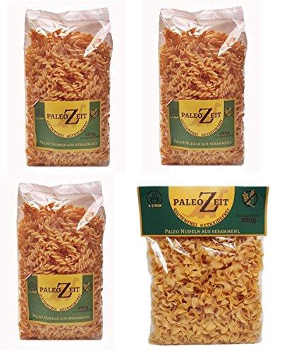 4x PALEO Nudeln Kohlenhydraten-reduzierte Pasta GLUTENFREIE Nudeln Gourmet Delikatesse 4x 250g (4x Sesammehl 2 verschiedene Formen)